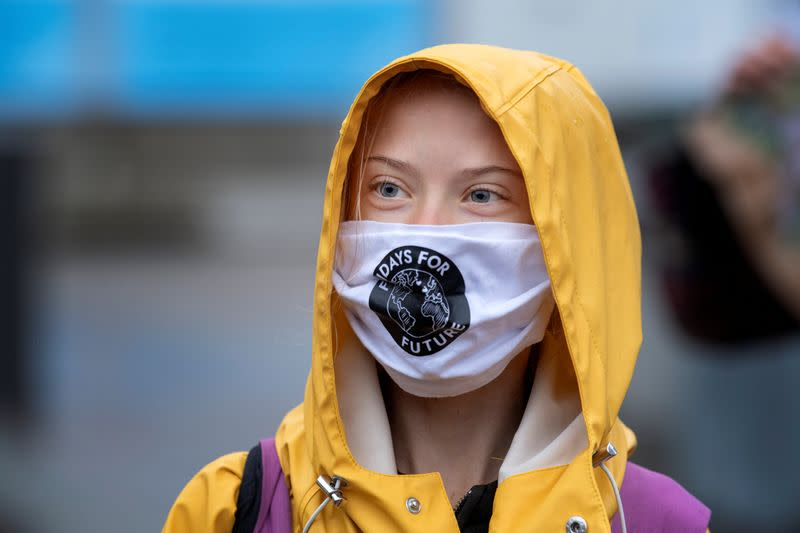 Swedish climate activist Greta Thunberg leaves Fridays For Future protest in Stockholm