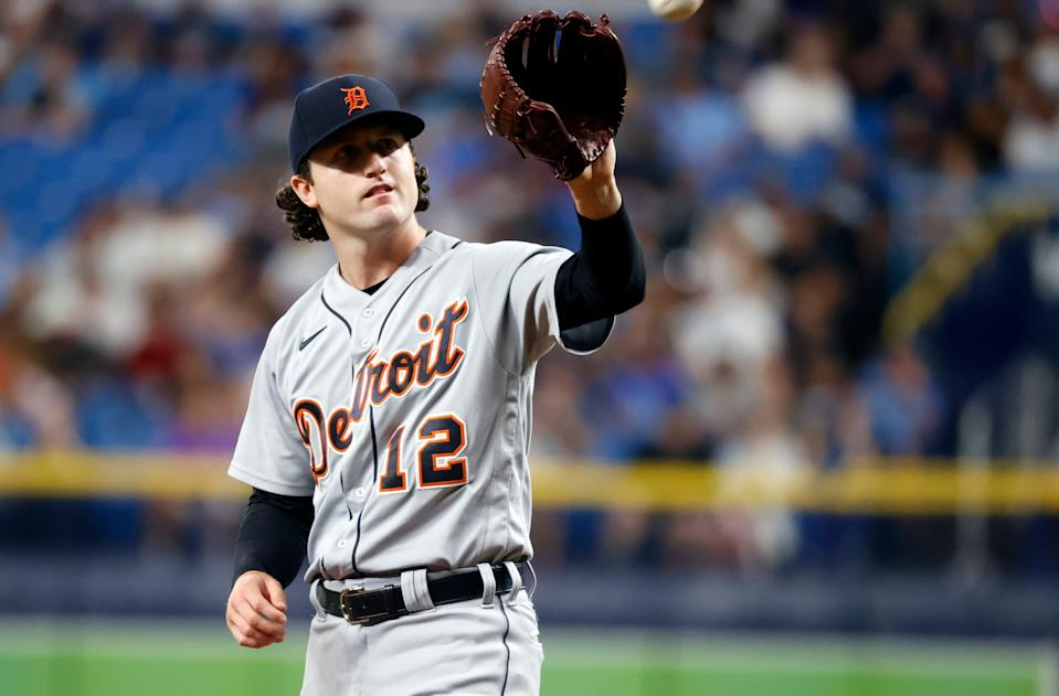 Detroit Tigers starting pitcher Casey Mize (12) looks on during the second inning Sept. 17, 2021 against the Tampa Bay Rays at Tropicana Field.