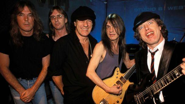 PHOTO: Members of the rock band AC/DC pose for a group photo in London, July 5, 1996. (Patrick Ford//Redferns/Getty Images, FILE)