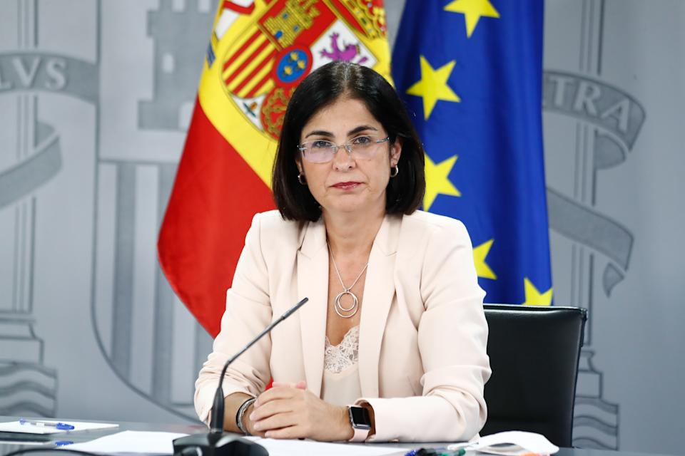 MADRID, SPAIN - AUGUST 27: The Minister of Territorial Policy and Public Function, Carolina Darias looks on during the media appearance after the Multisectorial Conference, on August 27, 2020 in Madrid, Spain. (Photo by Oscar J. Barroso Europa Press via Getty Images)