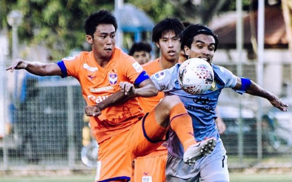 Players from Albirex Niigata (left) and Tampines Rovers tussle for the ball in the Singapore Premier League match. (PHOTO: Singapore Premier League)