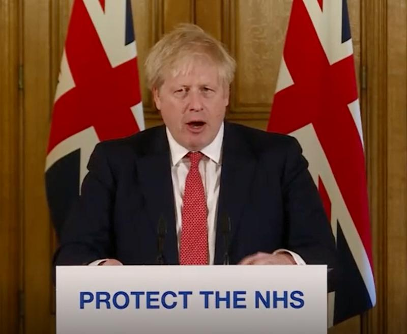 A screen-grab of Prime Minister Boris Johnson speaking at a media briefing in Downing Street, London, on coronavirus (COVID-19).