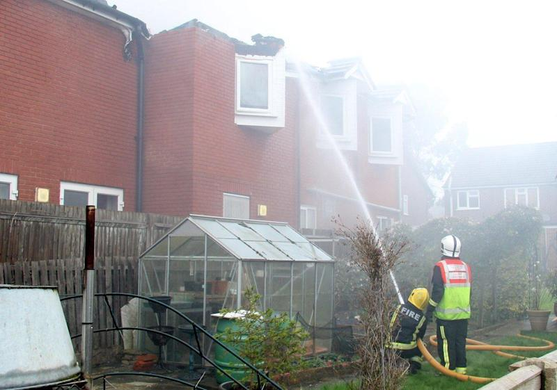 Two people have died in the fire that ripped through the Cadmore Lane home (Twitter/Paul Wood)