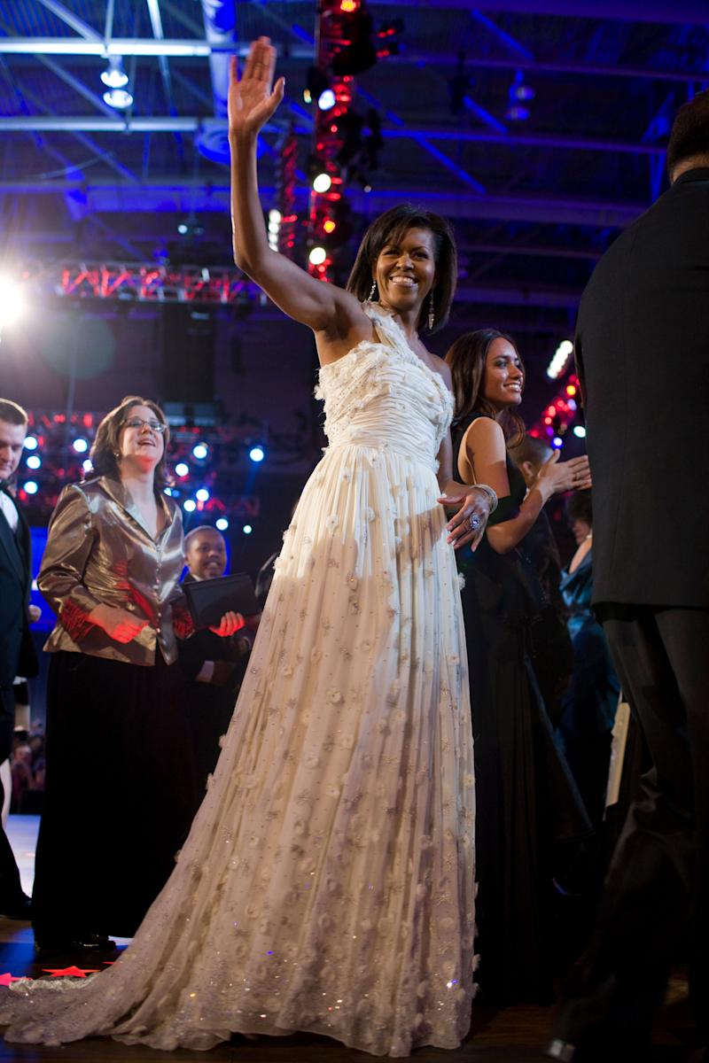 The former first lady wore this stunning Jason Wu gown for President Barack Obama's first inaugural ball back in 2009. It's now displayed in the National Museum of American History.