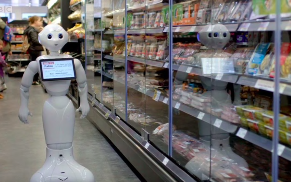 <em>Fabio the robot has been sacked from his supermarket position (BBC)</em>