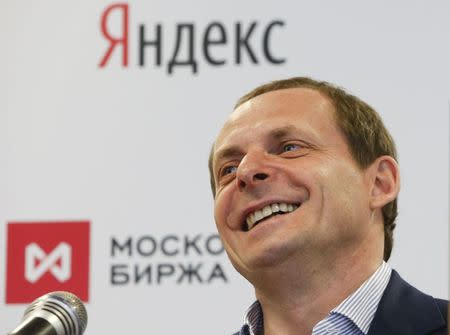 Volozh speaks during a ceremony at the Moscow Exchange