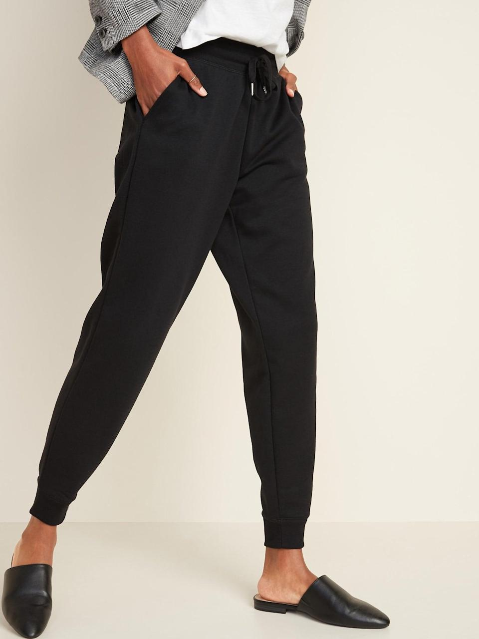 <p>You can't go wrong with these classic <span>Old Navy Mid-Rise Tapered-Leg Jogger Pants</span> ($30).</p>