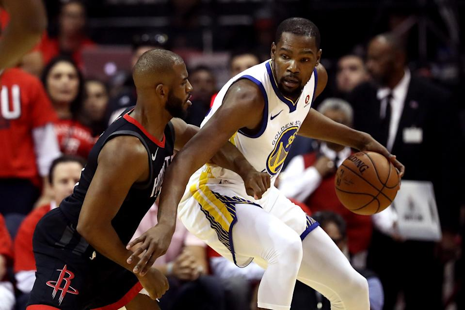 Chris Paul switching on to Kevin Durant wasn't a sound strategy Monday night. (Getty)