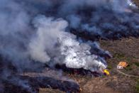 Drone view of home spared from volcanic lava on La Palma