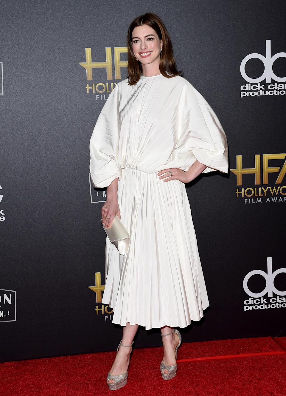 <p>The actress wore a voluminous, white Valentino dress at the 22nd Annual Hollywood Film Awards on November 4, 2018 in Beverly Hills, California. <em>[Photo: Getty]</em> </p>