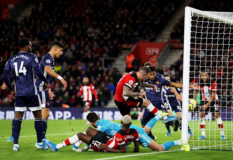 SOUTHAMPTON, ENGLAND - NOVEMBER 30: Danny Ings of Southampton scores his team's first goal during the Premier League match between Southampton FC and Watford FC at St Mary's Stadium on November 30, 2019 in Southampton, United Kingdom. (Photo by Naomi Baker/Getty Images)