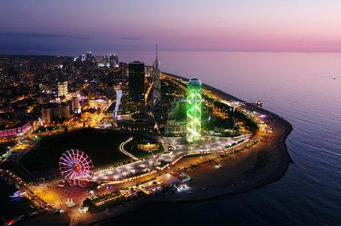 Batumi has gone all out to attract tourism with casinos and high-rise buildings. - Credit: Amos Chapple/RFE/RL