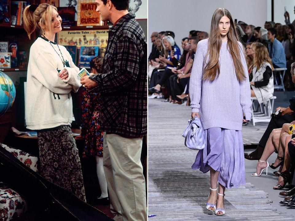 """<p><strong>The moment: </strong>Season 2, episode 12</p><p>As the queen of kooky and comfortable style, Phoebe has plenty of great knitwear moments, no more so than when she wears this oversized animal-emblazoned jumper during season two. Styled over a floaty maxi skirt, her look is one that appears again and again on the catwalks for autumn/winter collections. Bonus points for the <a href=""""https://www.harpersbazaar.com/uk/fashion/fashion-news/a15396759/balenciaga-hair-scrunchie-145-pounds/"""" rel=""""nofollow noopener"""" target=""""_blank"""" data-ylk=""""slk:very Balenciaga scrunchie"""" class=""""link rapid-noclick-resp"""">very Balenciaga scrunchie</a>. </p>"""