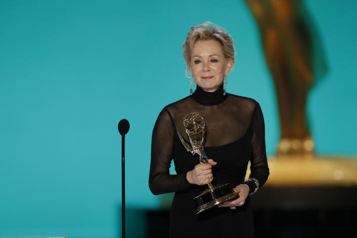 Hacks star Jean Smart tears up accepting her Emmy for Outstanding Lead Actress in a Comedy Series.