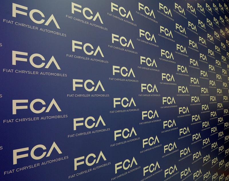 Fiat Chrysler Automobiles logo is seen on a panel at the media center in Balocco