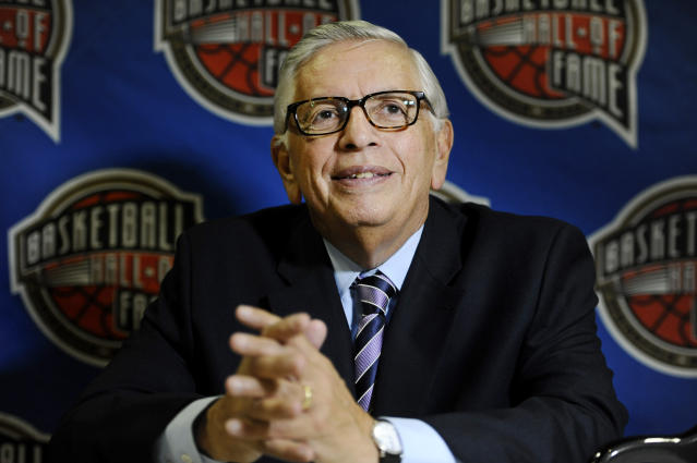 FILE - In this Aug. 7, 2014, file photo, David Stern, a member of the 2014 class of inductees into the Basketball Hall of Fame, listens to a question during a news conference in Springfield, Mass. A tribute to late NBA Commissioner Stern is to be held at New York's Radio City on Tuesday, Jan. 21, 2020. (AP Photo/Jessica Hill, File)