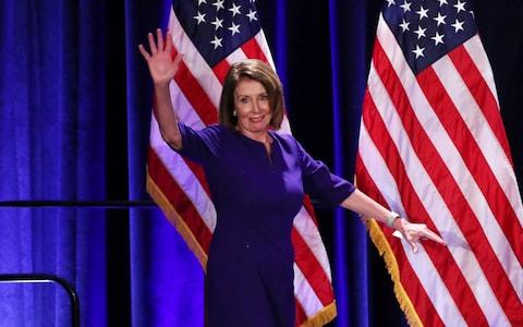 House Minority Leader Nancy Pelosi arrives to celebrate Democratic House wins - Credit: Reuters