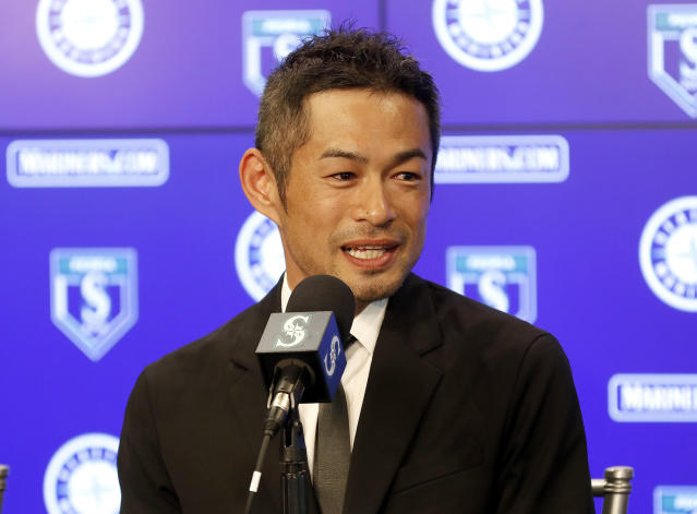 Seattle Mariners' Ichiro Suzuki speaks at a news conference at the teams' spring training baseball complex on Wednesday in Peoria, Ariz. (AP)