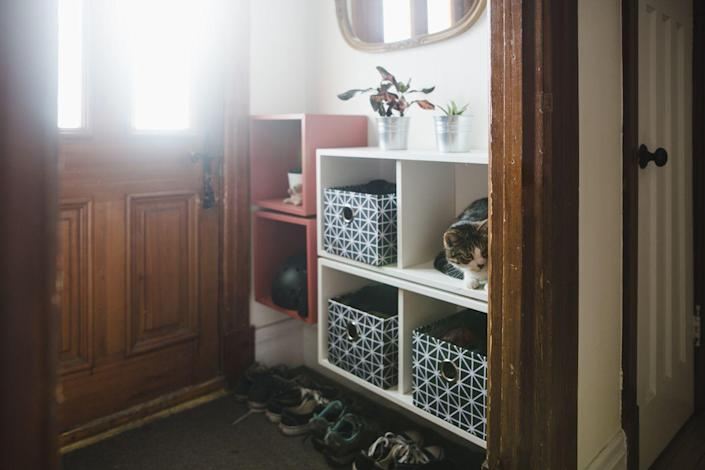 """<p>Once you decide you want to organize, you might get over excited, run to Home Goods, and stock up on storage bins and containers. Pause on that: """"Before purchasing storage products, be sure to edit your items and measure your space twice,"""" Michelle Manske, organizer and co-founder of <a href=""""https://www.henryandhigby.com/"""" rel=""""nofollow noopener"""" target=""""_blank"""" data-ylk=""""slk:Henry & Higby"""" class=""""link rapid-noclick-resp"""">Henry & Higby</a>, tells us. """"A little prep work and pre-planning will yield a much better result when searching for and purchasing storage containers.""""</p>"""