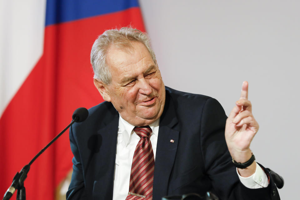 FILE - In this Thursday, June 10, 2021 file photo, the President of the Czech Republic Milos Zeman addresses the media during a joint press conference after their meeting at the Hofburg palace with the Austrian President Alexander Van der Bellen in Vienna, Austria. Czech President Milos Zeman was hospitalized on Tuesday Sept. 14, 2021, while his predecessor Vaclav Klaus was undergoing tests in the same hospital. (AP Photo/Lisa Leutner, File)