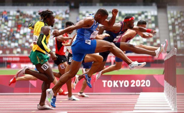 PHOTO: Athletes compete in hurdles on Aug. 4, 2021, in Tokyo, Japan. (Andrew Boyers/Reuters)