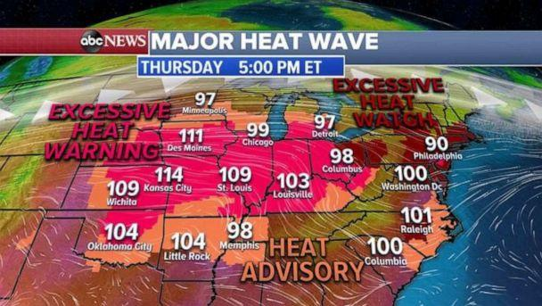 PHOTO: An excessive heat warning blankets most of the Midwest on Thursday. (ABC News)