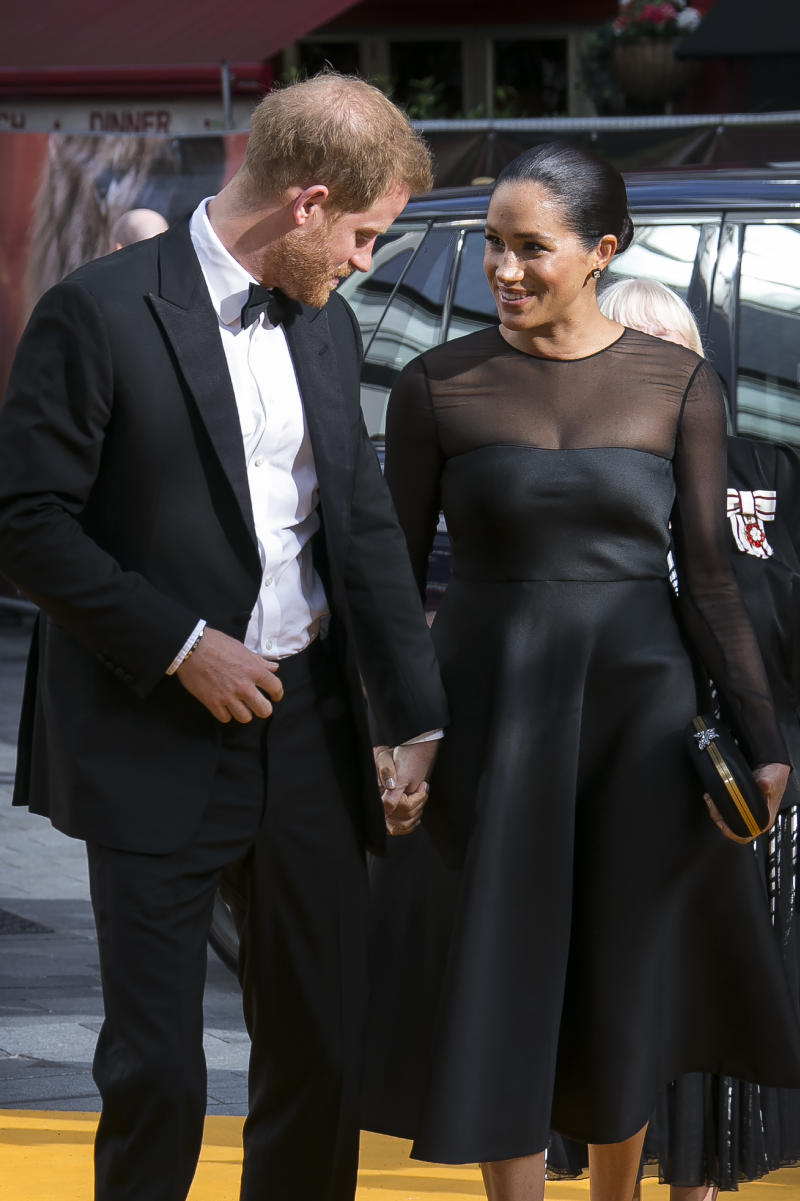 Britain's Prince Harry, left, and Meghan, Duchess of Sussex arrives at the 'Lion King' European premiere in central London, Sunday, July 14, 2019. (Photo by Joel C Ryan/Invision/AP)