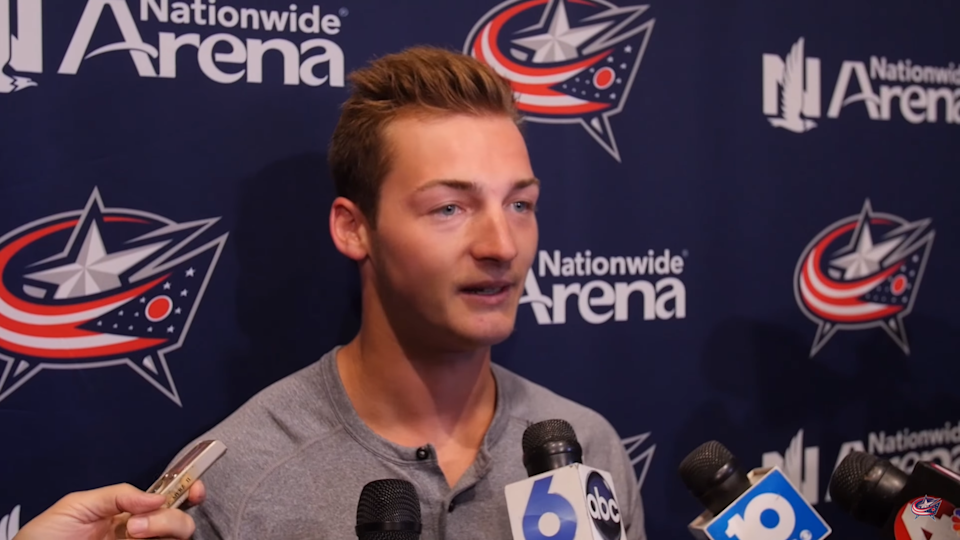 Not many athletes had as good an excuse for underperforming last year as Blue Jackets prospect Carson Meyer. (Columbus Blue Jackets)