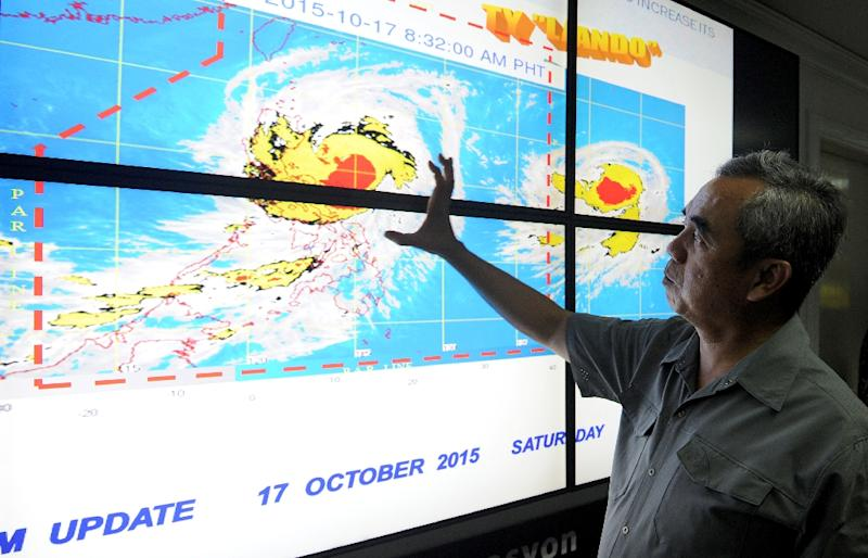 Undersecretary Alexander Pama, head of the National Disaster Risk Reduction and Management Council, gives a briefing on Typhoon Koppu in suburban Manila on October 17, 2015