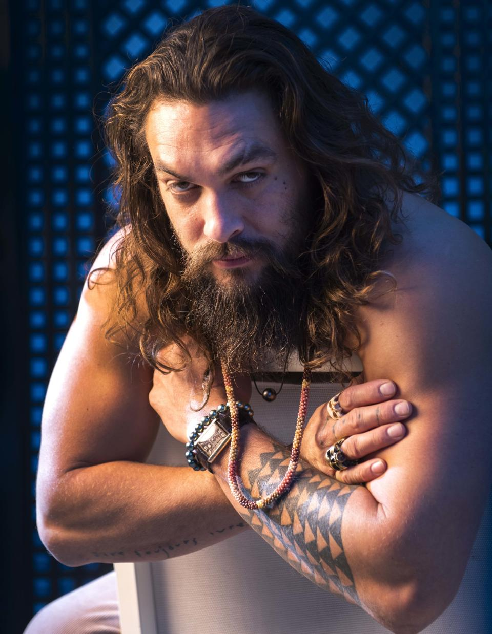"Dec 13, 2018; Los Angeles, CA, USA; Portrait of Jason Momoa who stars as the title character in the film ""Aquaman."" Mandatory Credit: Robert Hanashiro-USA TODAY/Sipa USA"