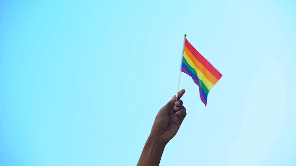 Mixed-race person hand holding flag of lgbtiq minority flag, pride, activism