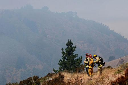 Firefighters survey a slope to look for hotspots during the Soberanes Fire in the mountains above Carmel Highlands, California, U.S. July 28, 2016. REUTERS/Michael Fiala