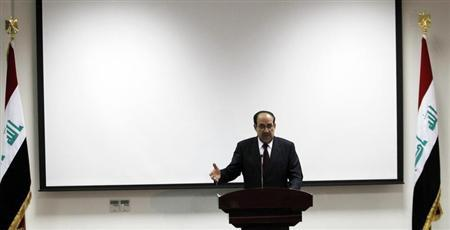 Iraq's Prime Minister Nuri al-Maliki speaks during the opening ceremony of the Defence University for Military Studies inside Baghdad