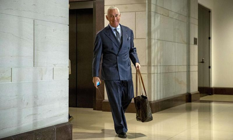 Roger Stone arrives to testify before the House Intelligence Committee.