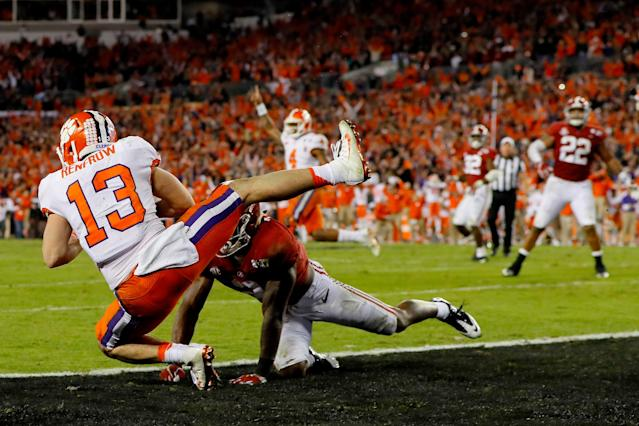 Hunter Renfrow became a hero forever in Clemson after catching the game-winning TD pass in 2017's national title game against Alabama. (Getty Images)