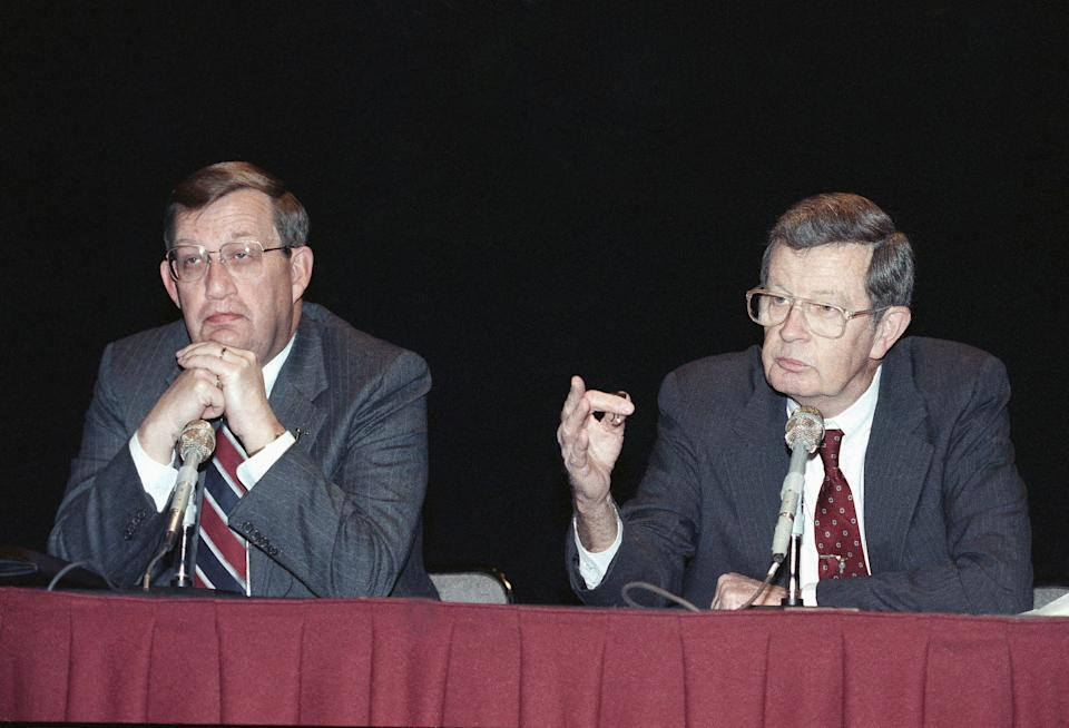 Lawrence Rawl, the 60-year-old head of Exxon, gestures during a news conference in New York, April 27, 1989. Rawl, who earned more than $9 million last year, has suddenly been thrust into the spotlight of harsh publicity for presiding over the management, or mismanagement of the disastrous Exxon tanker spill in Alaska. (AP Photo/Marty Lederhandler)
