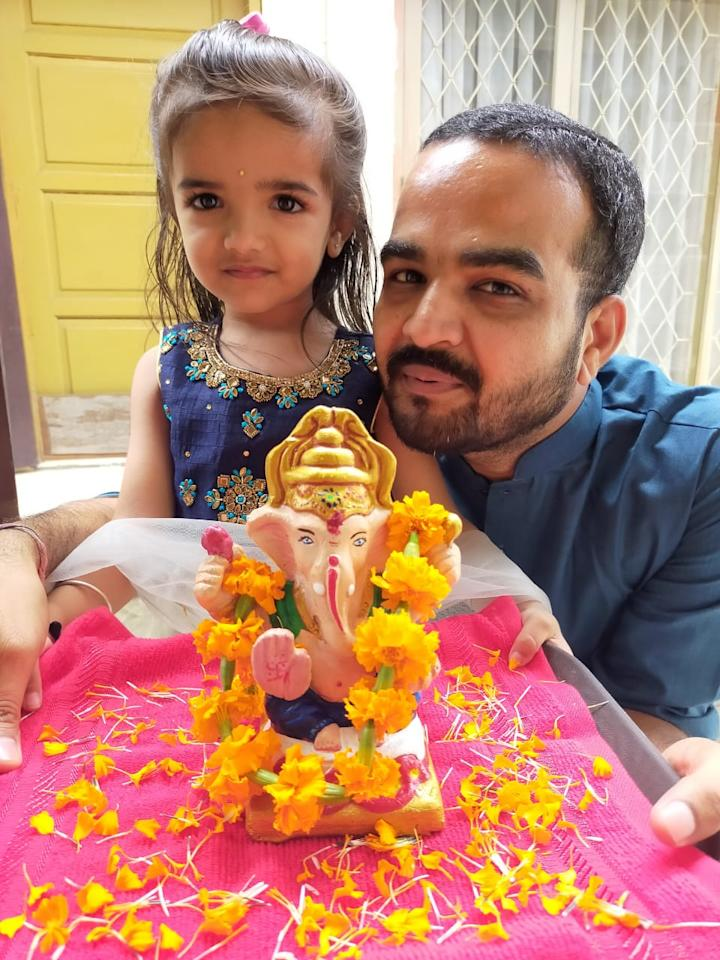 "Nisha Pavan Bajaj: ""Brought Ganesha home for first time that too when we are in Indonesia. My daughter Nandini's all crazy about her Ganpati bappa."""