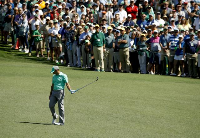 Sergio Garcia, of Spain, reacts after hitting a ball in the water on the 15th hole during the first round at the Masters golf tournament Thursday, April 5, 2018, in Augusta, Ga. Garcia shot an 8-over 13 on the hole. (AP)