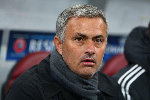 Mourinho pictured during Chelsea's game against Steaua Bucuresti in the Champions League