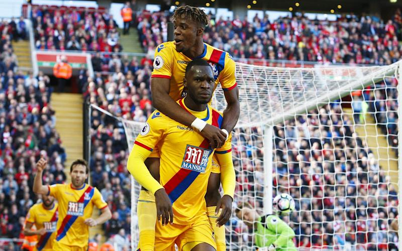 Christian Benteke equalised against his former club just before half time at Anfield - Rex Features