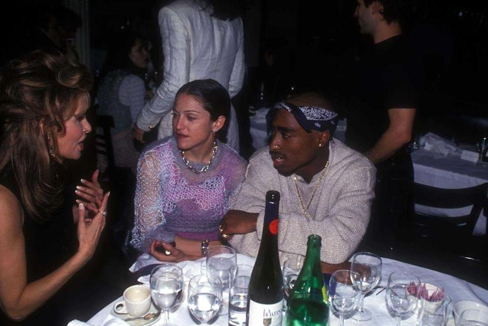 """<p>In 2015, Madonna made headlines when she admitted she had dated rapper Tupac Shakur years before his death, in 1994. """"I was dating Tupac Shakur at the time and, the thing is, he got me all riled up on life in general,"""" she told <a href=""""https://www.people.com/article/madonna-no-report-rape-sexual-assault-humiliating"""" rel=""""nofollow noopener"""" target=""""_blank"""" data-ylk=""""slk:Howard Stern"""" class=""""link rapid-noclick-resp"""">Howard Stern</a>, of a historic interview where she swore a lot.</p>"""