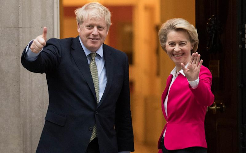 Prime Minister Boris Johnson greets EU Commission president Ursula von der Leyen ahead of a meeting in Downing Street, London. PA Photo. Picture date: Wednesday January 8, 2020. See PA story POLITICS Brexit. Photo credit should read: Stefan Rousseau/PA Wire -  PA/Stefan Rousseau