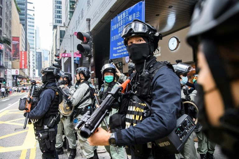 Riot police in Hong Kong have arreatsed hundreds of people in recent days to ensure there are no widespread protests (AFP Photo/ANTHONY WALLACE)