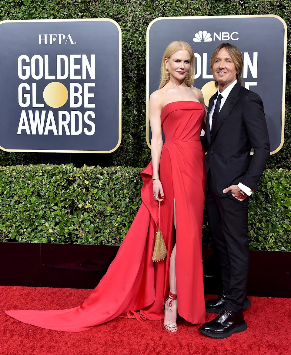 Nicole Kidman and Keith Urban attend the 77th Annual Golden Globe Awards at The Beverly Hilton Hotel on January 05, 2020 in Beverly Hills, California.