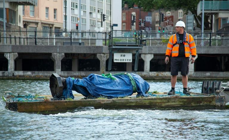 Torn-down United Kingdom slave trader statue retrieved from harbour