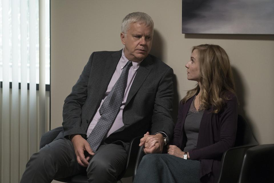 Tim Robbins and Holly Hunter in <em>Here and Now</em>. (Photo: Ali Paige Goldstein/HBO)