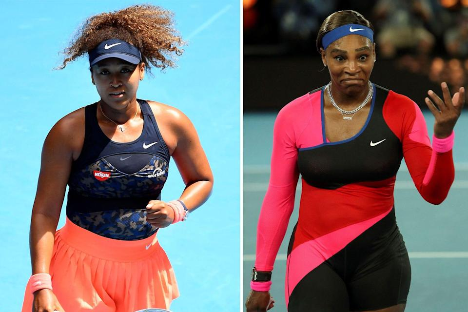 Naomi Osaka, left, will take on Serena Williams, right, in the 2021 Australian Open semifinals.