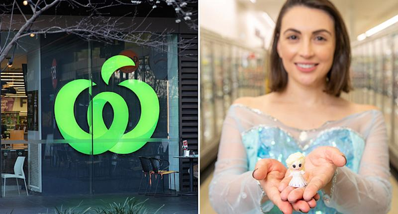 Picture of a Woolworths store and a woman dressed as Elsa from Disney's Frozen, holding an Elsa Ooshie