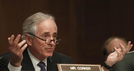 Senator Corker questions members of panel testifying before Senate Banking, Housing and Urban Affairs Committee in Washington