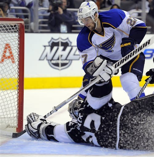 Los Angeles Kings goalie Jonathan Quick stops a shot by St. Louis Blues defenseman Alex Pietrangelo during the third period in Game 4 of an NHL hockey Stanley Cup second-round playoff series, Sunday, May 6, 2012, in Los Angeles. The Kings won 3-1 to win the series 4-0. (AP Photo/Mark J. Terrill)
